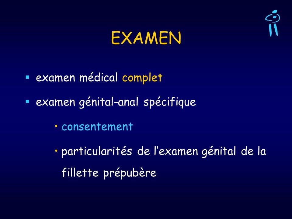 EXAMEN examen médical complet examen génital-anal spécifique consentement particularités de lexamen génital de la fillette prépubère