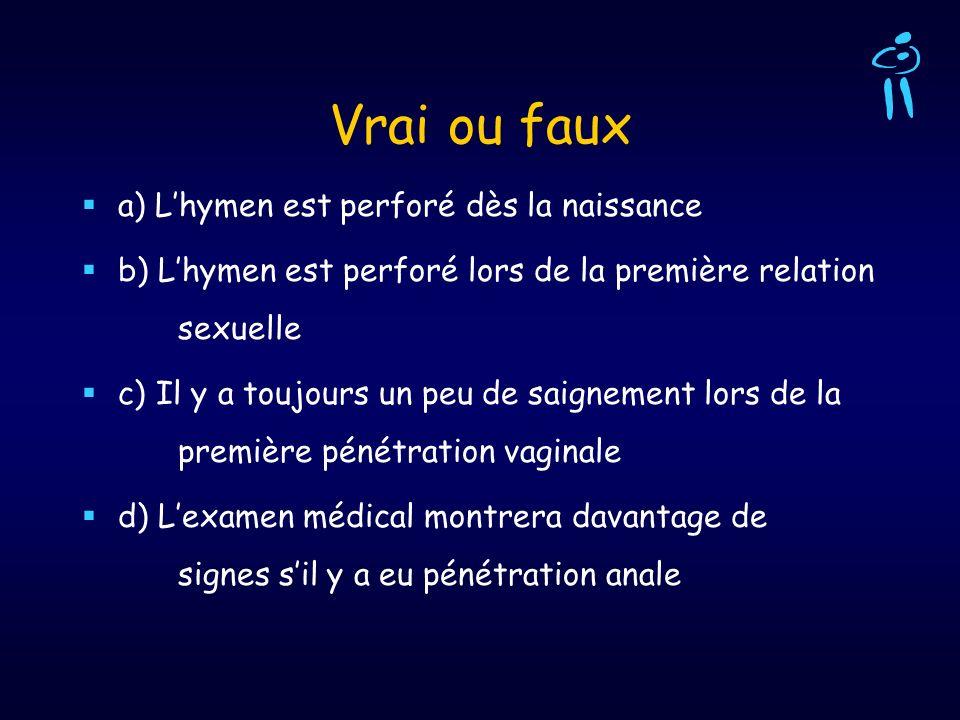 Vrai ou faux a) Lhymen est perforé dès la naissance b) Lhymen est perforé lors de la première relation sexuelle c) Il y a toujours un peu de saignemen