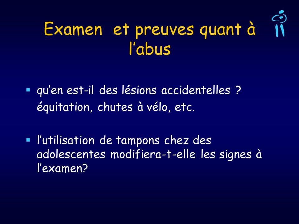 Examen et preuves quant à labus quen est-il des lésions accidentelles ? équitation, chutes à vélo, etc. lutilisation de tampons chez des adolescentes
