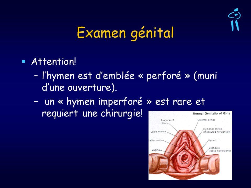 Examen génital Attention! –lhymen est demblée « perforé » (muni dune ouverture). – un « hymen imperforé » est rare et requiert une chirurgie!