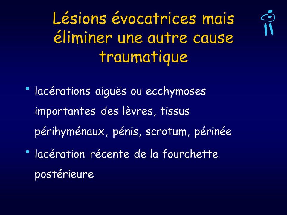 Lésions évocatrices mais éliminer une autre cause traumatique lacérations aiguës ou ecchymoses importantes des lèvres, tissus périhyménaux, pénis, scr