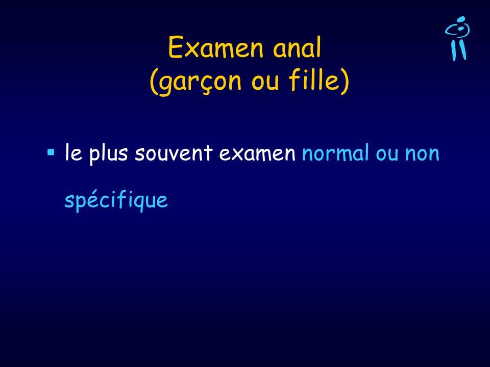 Examen anal (garçon ou fille) le plus souvent examen normal ou non spécifique