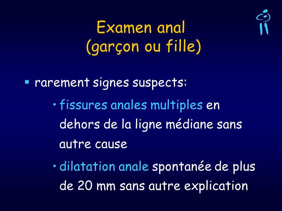 Examen anal (garçon ou fille) rarement signes suspects: fissures anales multiples en dehors de la ligne médiane sans autre cause dilatation anale spon