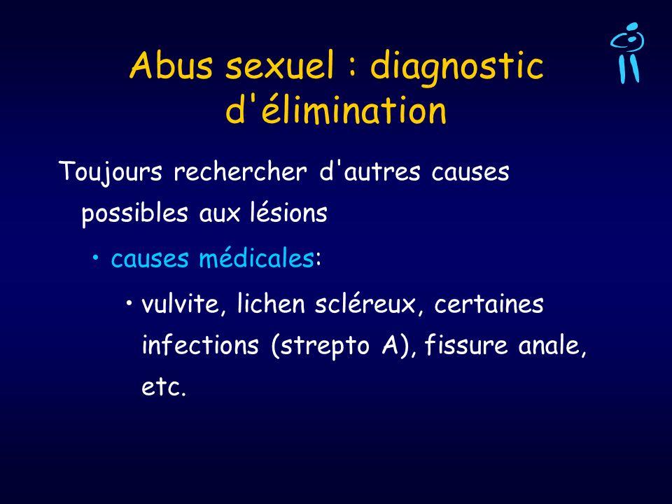 Abus sexuel : diagnostic d'élimination Toujours rechercher d'autres causes possibles aux lésions causes médicales: vulvite, lichen scléreux, certaines