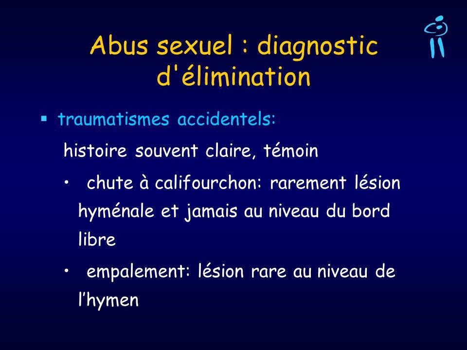 Abus sexuel : diagnostic d'élimination traumatismes accidentels: histoire souvent claire, témoin chute à califourchon: rarement lésion hyménale et jam