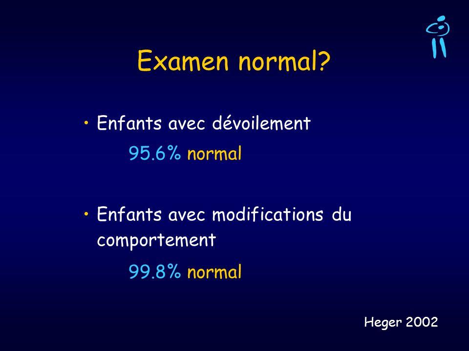 Examen normal? Enfants avec dévoilement 95.6% normal Enfants avec modifications du comportement 99.8% normal Heger 2002