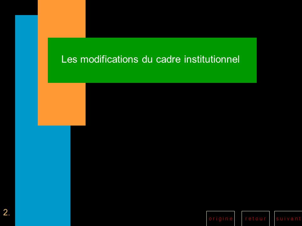 r e t o u rs u i v a n to r i g i n e Les modifications du cadre institutionnel 2.
