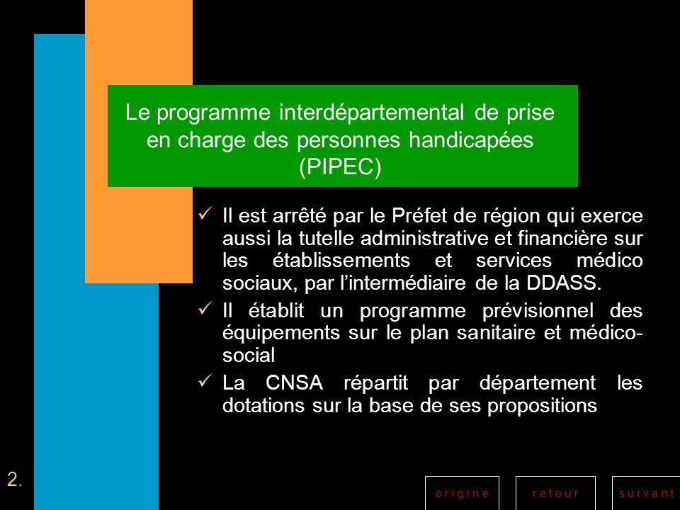 r e t o u rs u i v a n to r i g i n e Le programme interdépartemental de prise en charge des personnes handicapées (PIPEC) Il est arrêté par le Préfet