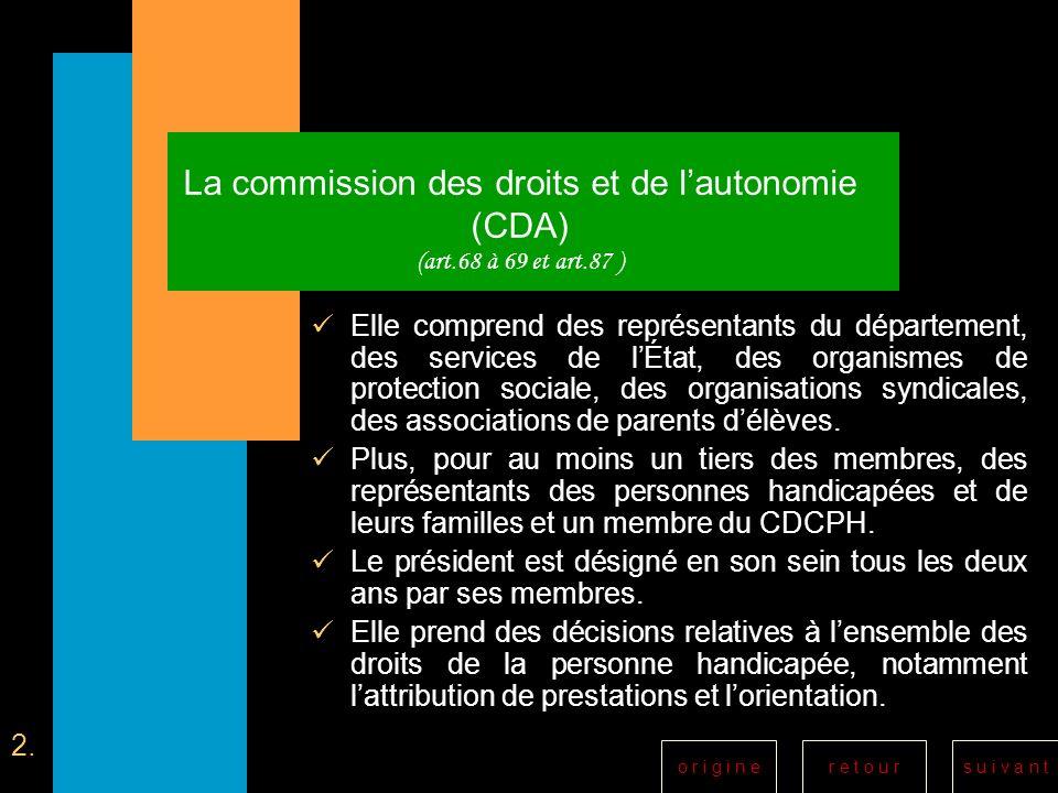 r e t o u rs u i v a n to r i g i n e La commission des droits et de lautonomie (CDA) (art.68 à 69 et art.87 ) Elle comprend des représentants du dépa
