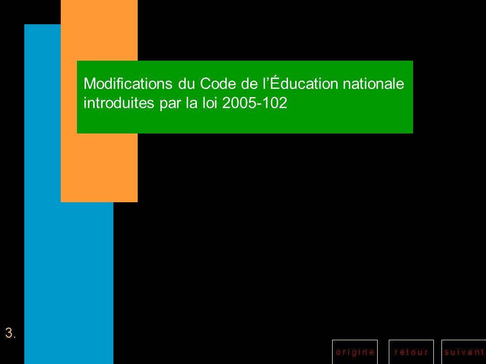 r e t o u rs u i v a n to r i g i n e Modifications du Code de lÉducation nationale introduites par la loi 2005-102 3.