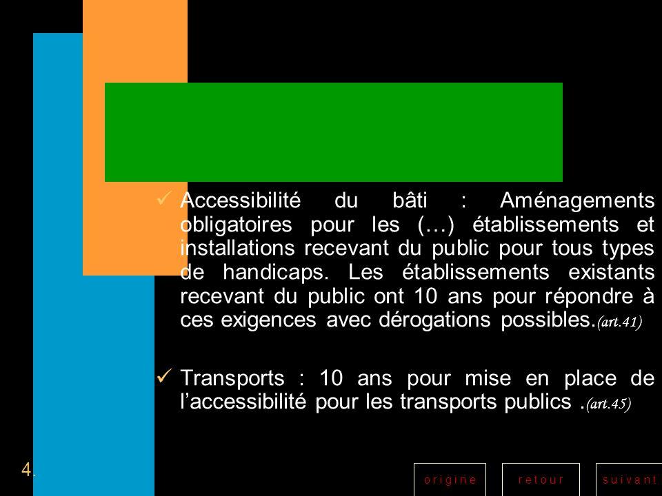 r e t o u rs u i v a n to r i g i n e Accessibilité du bâti : Aménagements obligatoires pour les (…) établissements et installations recevant du publi