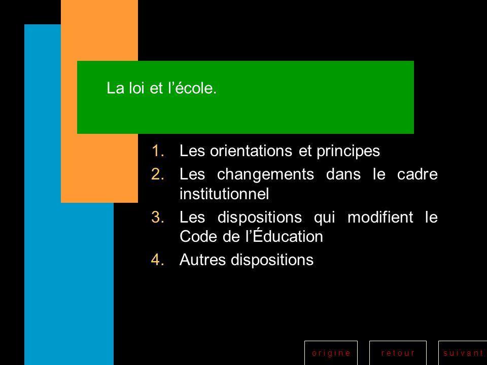 r e t o u rs u i v a n to r i g i n e La loi et lécole. 1.Les orientations et principes 2.Les changements dans le cadre institutionnel 3.Les dispositi