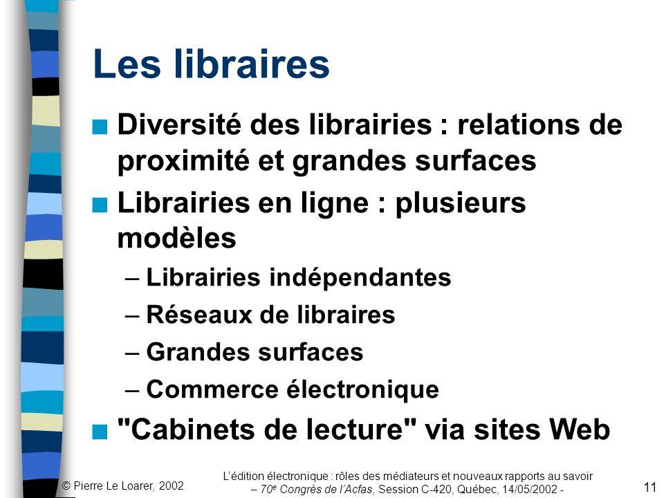 © Pierre Le Loarer, 2002 Lédition électronique : rôles des médiateurs et nouveaux rapports au savoir – 70 e Congrès de lAcfas, Session C-420, Québec,