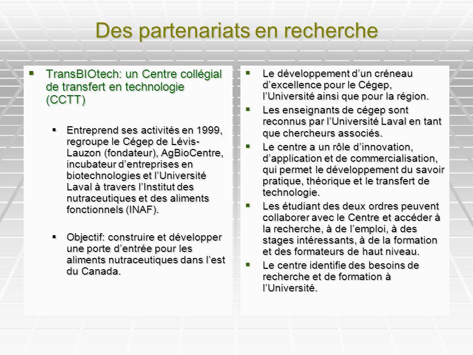 Des partenariats en recherche TransBIOtech: un Centre collégial de transfert en technologie (CCTT) TransBIOtech: un Centre collégial de transfert en technologie (CCTT) Entreprend ses activités en 1999, regroupe le Cégep de Lévis- Lauzon (fondateur), AgBioCentre, incubateur dentreprises en biotechnologies et lUniversité Laval à travers lInstitut des nutraceutiques et des aliments fonctionnels (INAF).