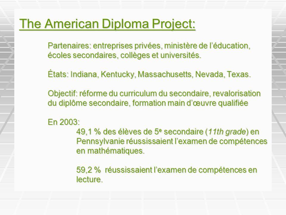The American Diploma Project: Partenaires: entreprises privées, ministère de léducation, écoles secondaires, collèges et universités.