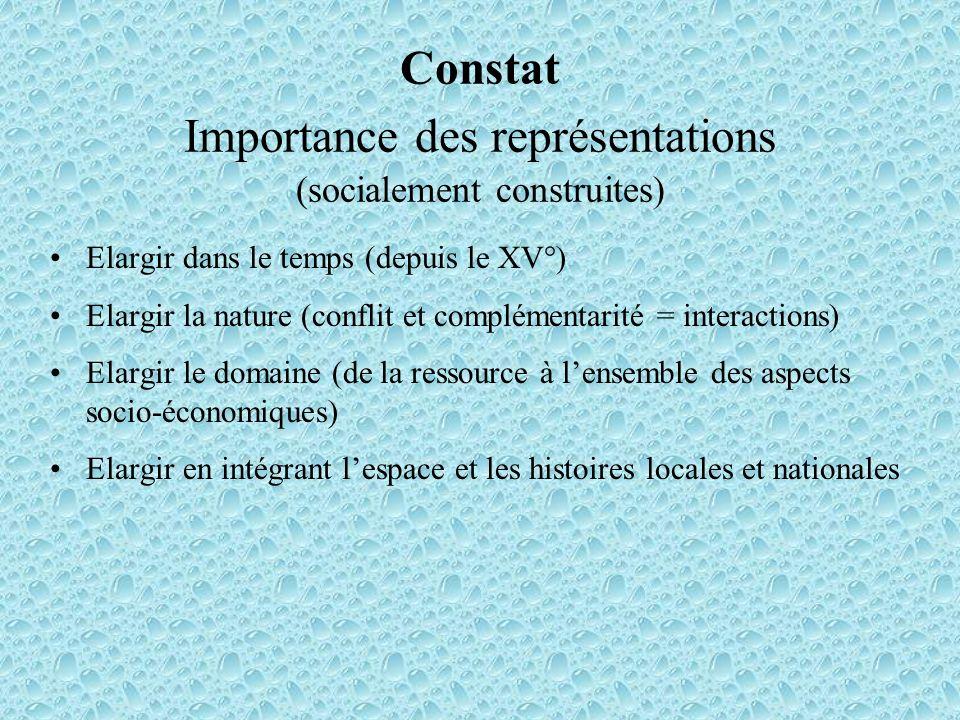Constat Importance des représentations (socialement construites) Elargir dans le temps (depuis le XV°) Elargir la nature (conflit et complémentarité =