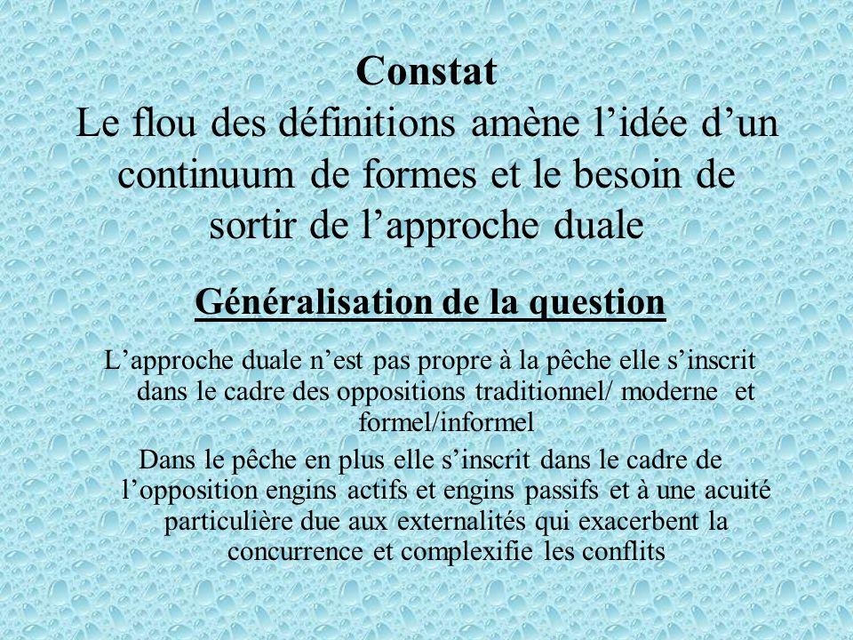 Constat Le flou des définitions amène lidée dun continuum de formes et le besoin de sortir de lapproche duale Généralisation de la question Lapproche