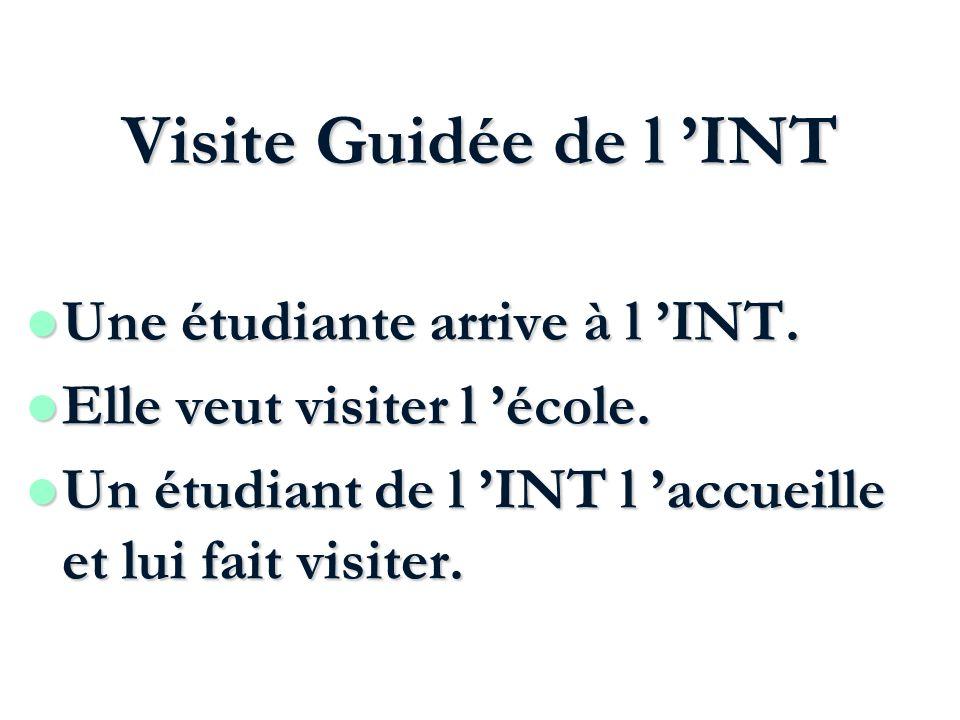 Visite Guidée de l INT Une étudiante arrive à l INT. Une étudiante arrive à l INT. l Elle veut visiter l école. l Un étudiant de l INT l accueille et