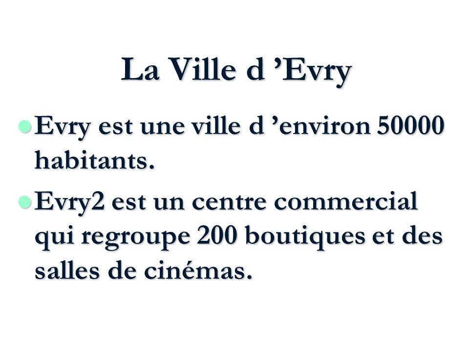 La Ville d Evry Evry est une ville d environ 50000 habitants. Evry est une ville d environ 50000 habitants. l Evry2 est un centre commercial qui regro