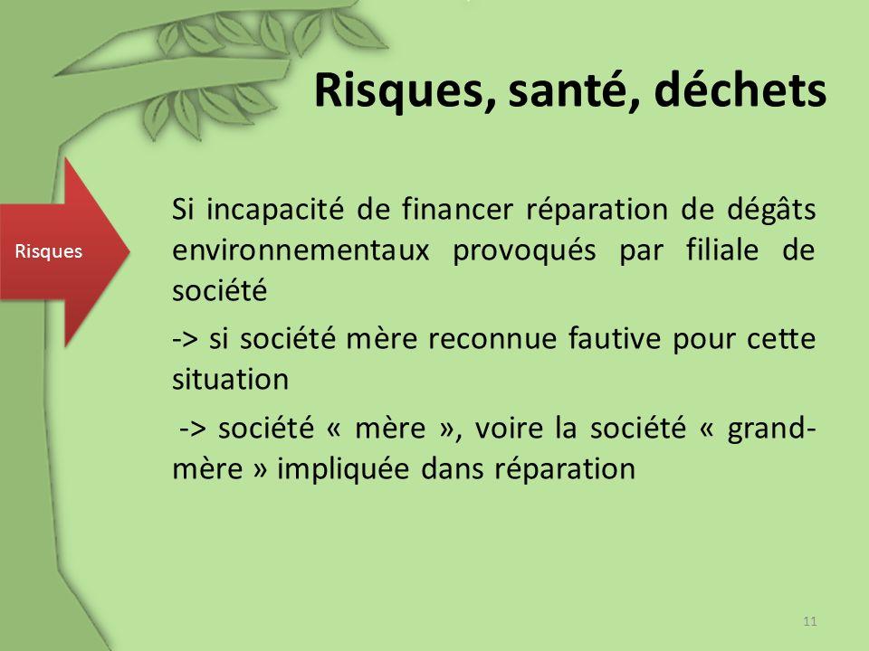 Si incapacité de financer réparation de dégâts environnementaux provoqués par filiale de société -> si société mère reconnue fautive pour cette situat