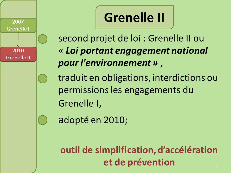 Grenelle II second projet de loi : Grenelle II ou « Loi portant engagement national pour l'environnement », traduit en obligations, interdictions ou p