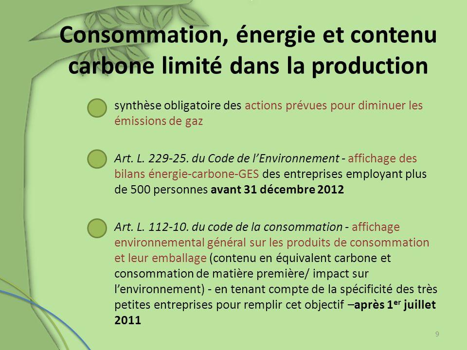 Consommation, énergie et contenu carbone limité dans la production synthèse obligatoire des actions prévues pour diminuer les émissions de gaz Art. L.