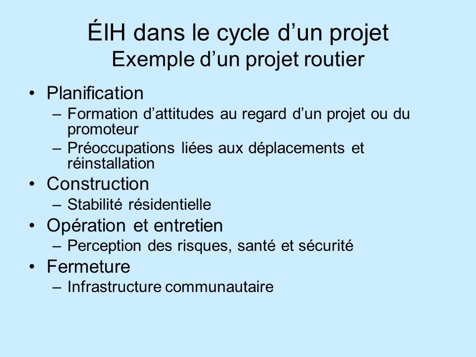 ÉIH dans le cycle dun projet Exemple dun projet routier Planification –Formation dattitudes au regard dun projet ou du promoteur –Préoccupations liées