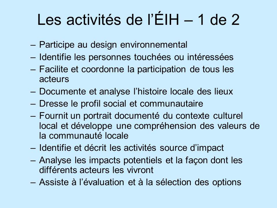 Les activités de lÉIH – 1 de 2 –Participe au design environnemental –Identifie les personnes touchées ou intéressées –Facilite et coordonne la partici