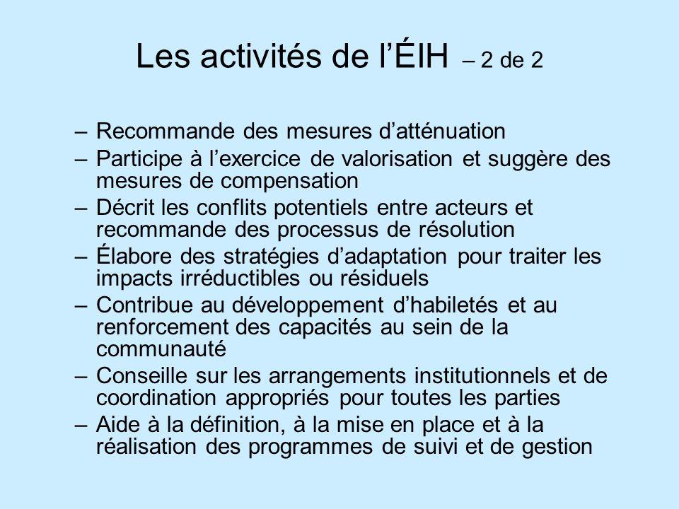 Les activités de lÉIH – 2 de 2 –Recommande des mesures datténuation –Participe à lexercice de valorisation et suggère des mesures de compensation –Déc