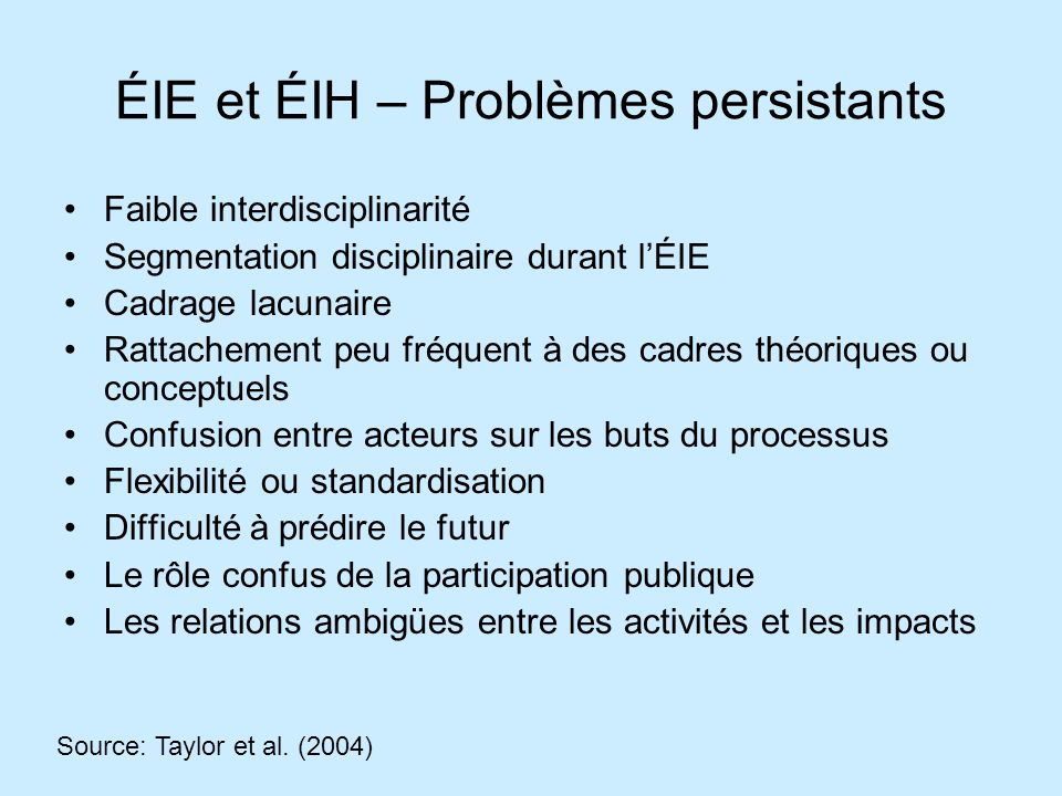 ÉIE et ÉIH – Problèmes persistants Faible interdisciplinarité Segmentation disciplinaire durant lÉIE Cadrage lacunaire Rattachement peu fréquent à des