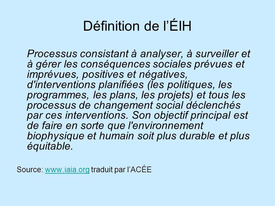Définition de lÉIH Processus consistant à analyser, à surveiller et à gérer les conséquences sociales prévues et imprévues, positives et négatives, d'