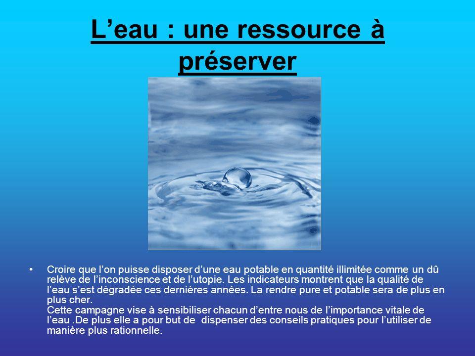 Leau : une ressource à préserver Croire que lon puisse disposer dune eau potable en quantité illimitée comme un dû relève de linconscience et de lutop