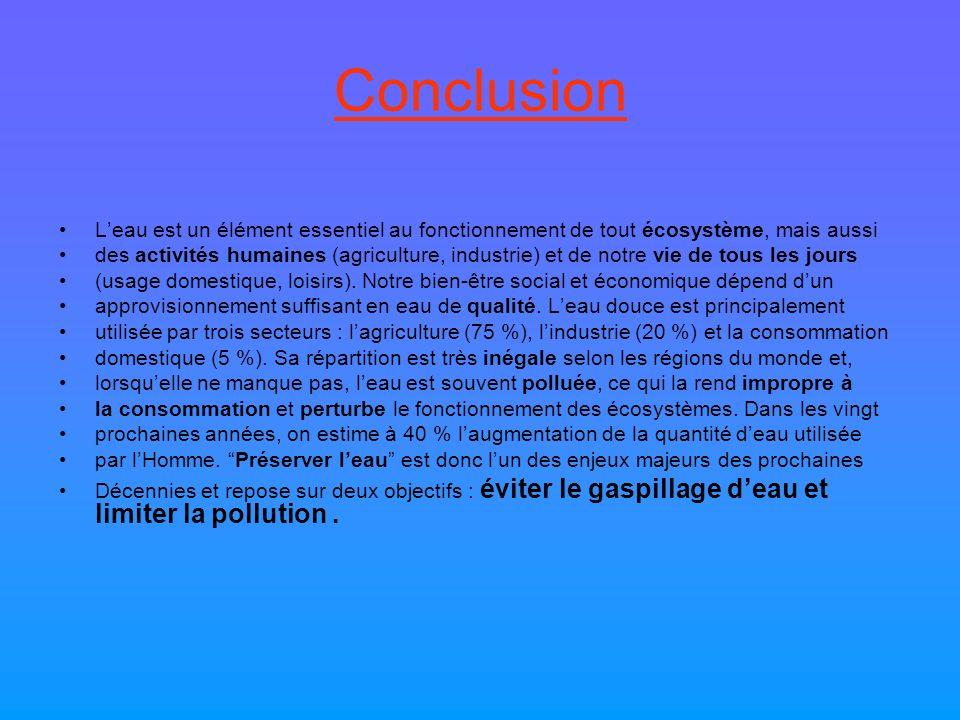 Conclusion Leau est un élément essentiel au fonctionnement de tout écosystème, mais aussi des activités humaines (agriculture, industrie) et de notre