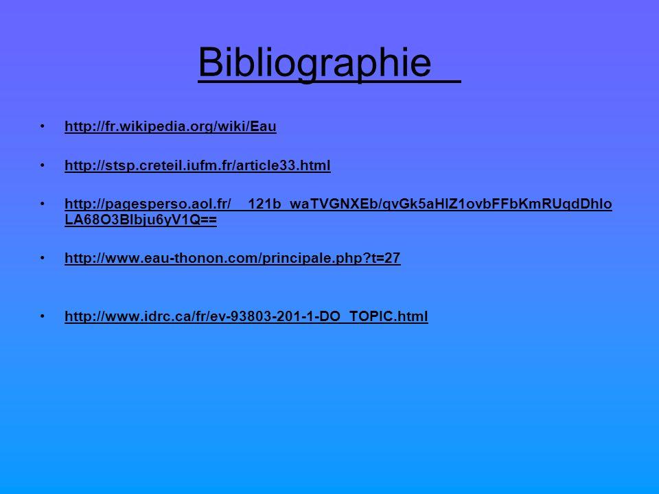 Bibliographie http://fr.wikipedia.org/wiki/Eau http://stsp.creteil.iufm.fr/article33.html http://pagesperso.aol.fr/__121b_waTVGNXEb/qvGk5aHIZ1ovbFFbKm