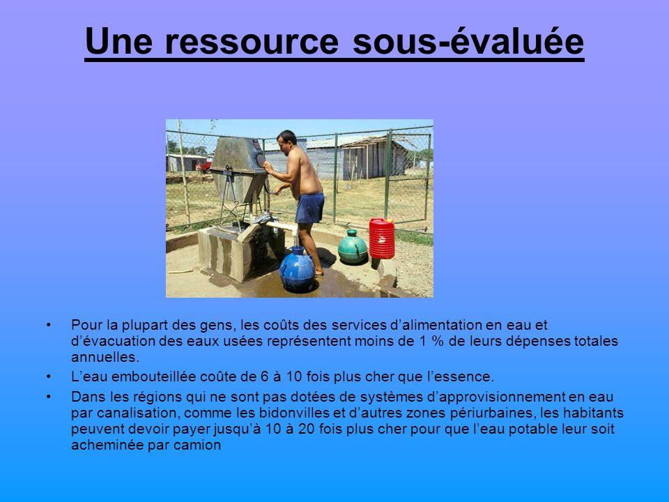 Une ressource sous-évaluée Pour la plupart des gens, les coûts des services dalimentation en eau et dévacuation des eaux usées représentent moins de 1