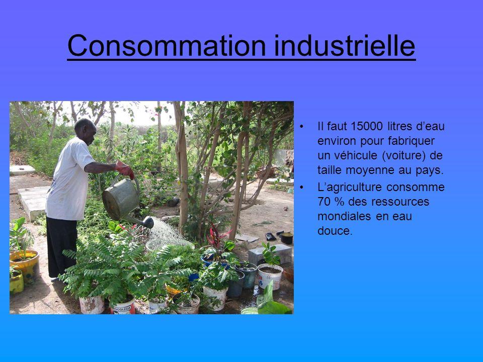Consommation industrielle Il faut 15000 litres deau environ pour fabriquer un véhicule (voiture) de taille moyenne au pays. Lagriculture consomme 70 %