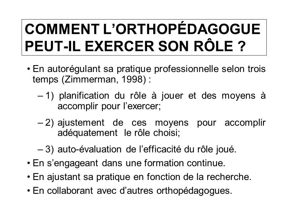 COMMENT LORTHOPÉDAGOGUE PEUT-IL EXERCER SON RÔLE .