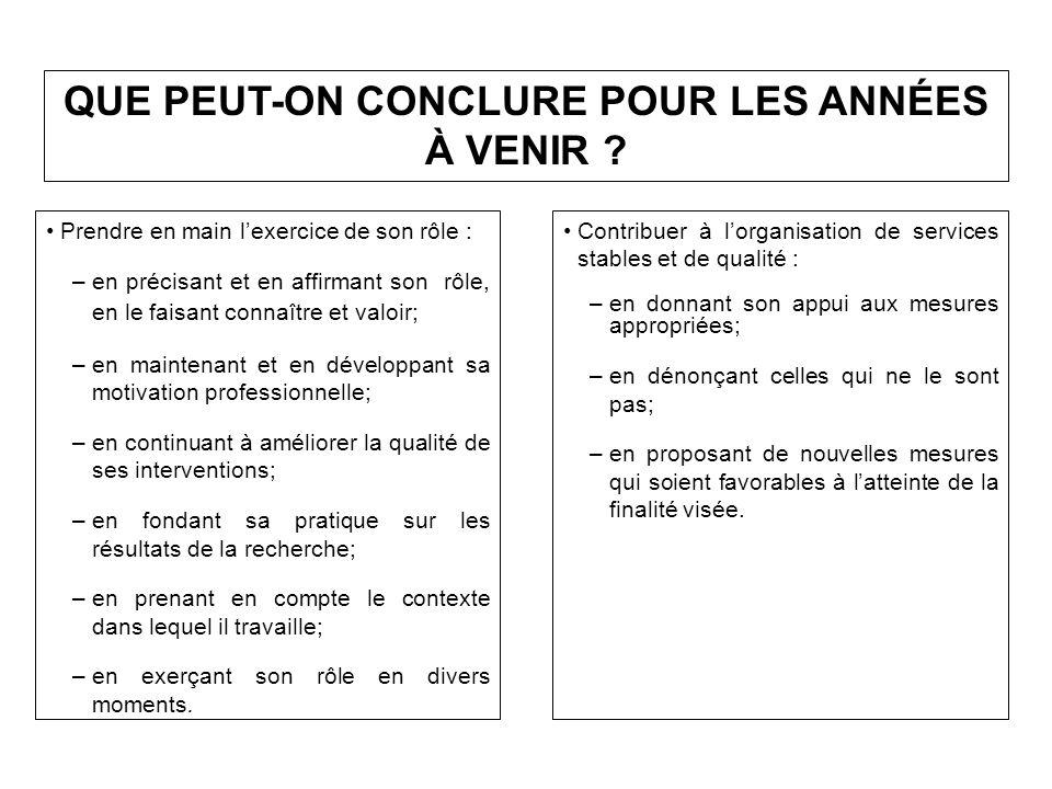 QUE PEUT-ON CONCLURE POUR LES ANNÉES À VENIR .