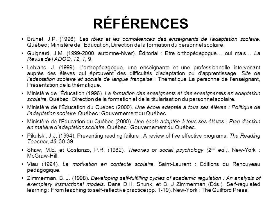 RÉFÉRENCES Brunet, J.P.(1996).