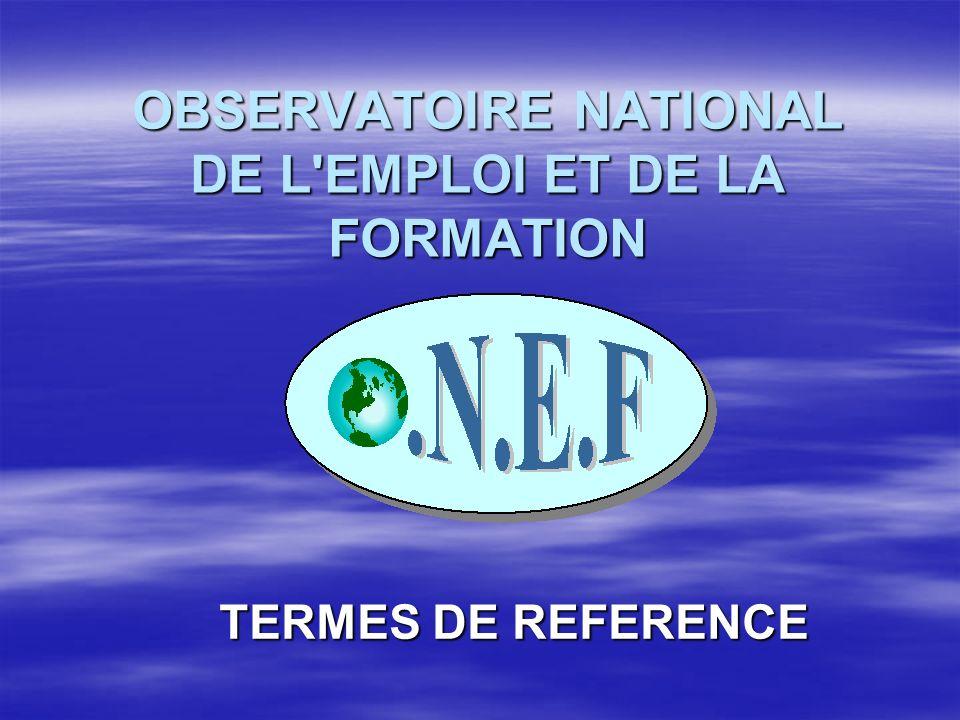 OBSERVATOIRE NATIONAL DE L'EMPLOI ET DE LA FORMATION TERMES DE REFERENCE