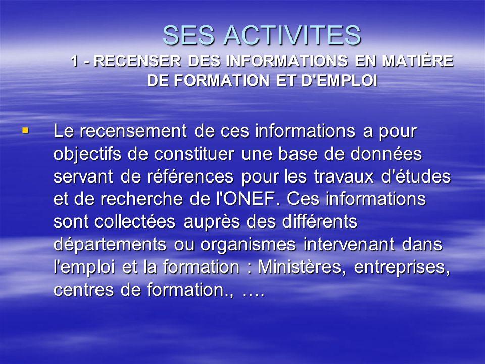 SES ACTIVITES 1 - RECENSER DES INFORMATIONS EN MATIÈRE DE FORMATION ET D'EMPLOI Le recensement de ces informations a pour objectifs de constituer une