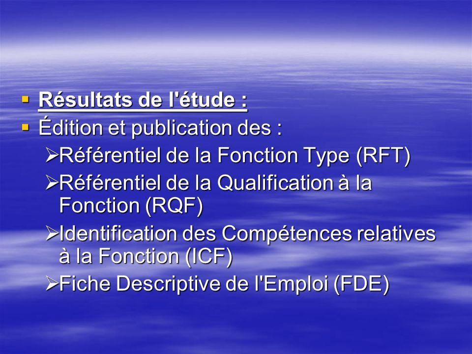 Résultats de l'étude : Résultats de l'étude : Édition et publication des : Édition et publication des : Référentiel de la Fonction Type (RFT) Référent