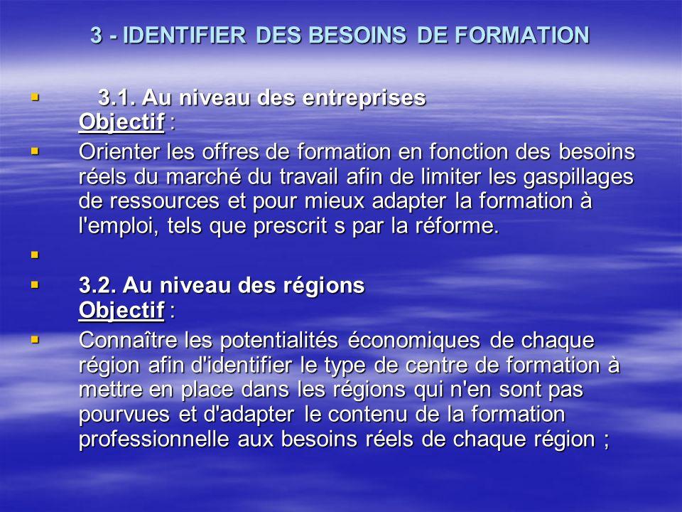 3 - IDENTIFIER DES BESOINS DE FORMATION 3.1. Au niveau des entreprises Objectif : 3.1. Au niveau des entreprises Objectif : Orienter les offres de for