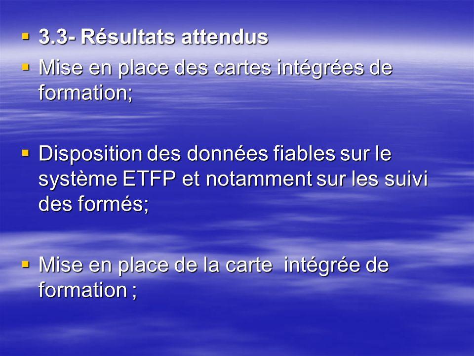 3.3- Résultats attendus 3.3- Résultats attendus Mise en place des cartes intégrées de formation; Mise en place des cartes intégrées de formation; Disp