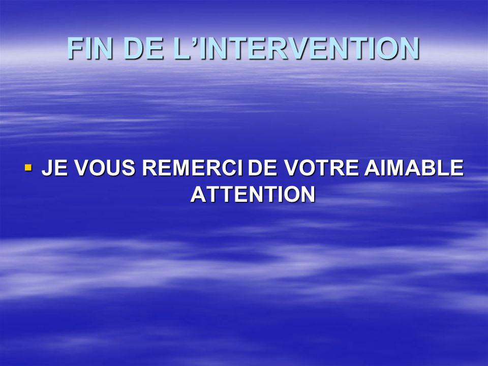 FIN DE LINTERVENTION JE VOUS REMERCI DE VOTRE AIMABLE ATTENTION JE VOUS REMERCI DE VOTRE AIMABLE ATTENTION