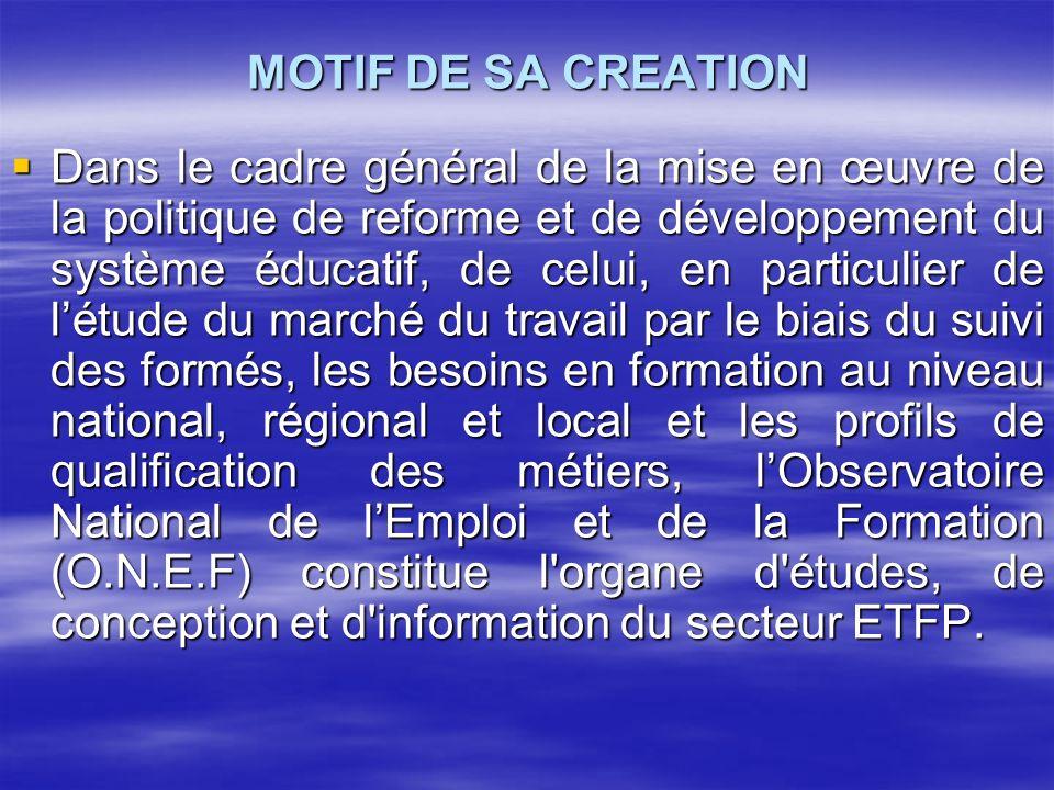 MOTIF DE SA CREATION Dans le cadre général de la mise en œuvre de la politique de reforme et de développement du système éducatif, de celui, en partic