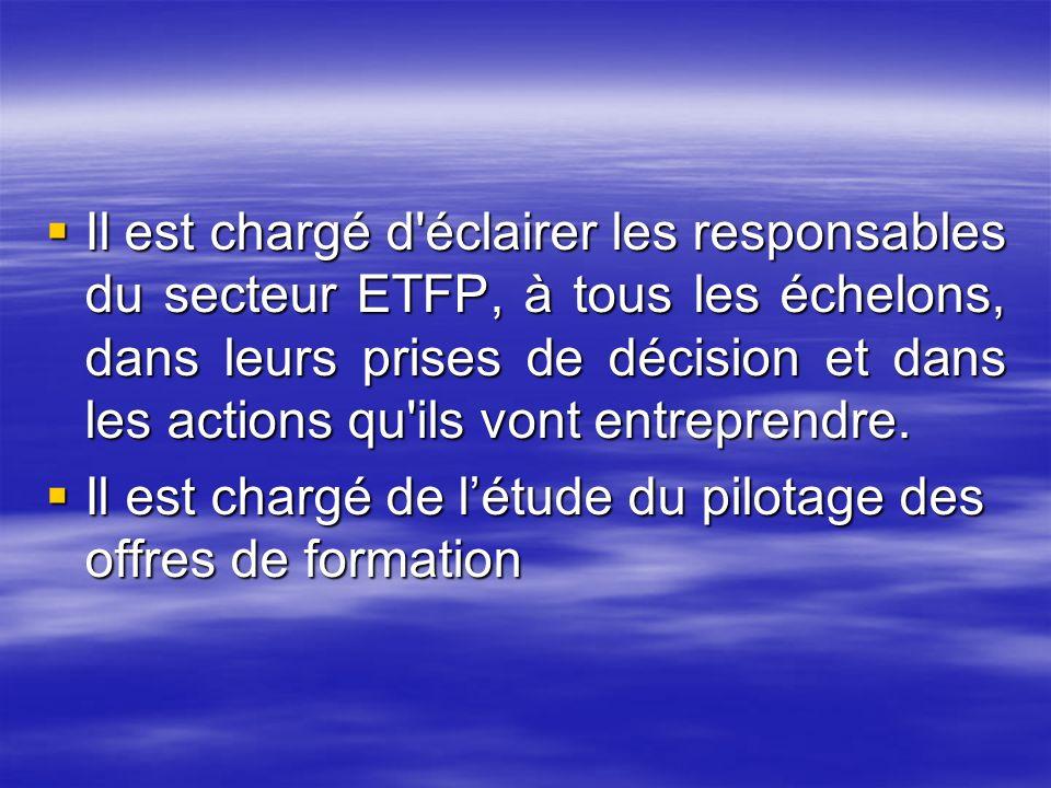 Il est chargé d'éclairer les responsables du secteur ETFP, à tous les échelons, dans leurs prises de décision et dans les actions qu'ils vont entrepre