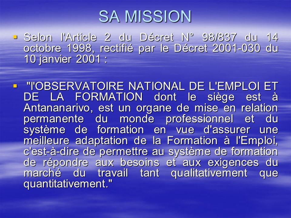SA MISSION Selon l'Article 2 du Décret N° 98/837 du 14 octobre 1998, rectifié par le Décret 2001-030 du 10 janvier 2001 : Selon l'Article 2 du Décret