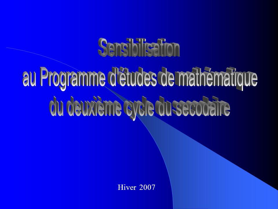 But de la rencontre Se familiariser avec le Programme de formation du 2 e cycle en mathématique