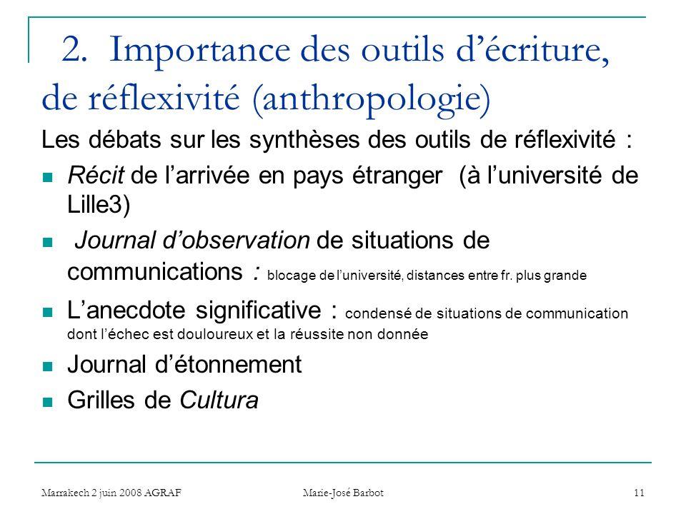 Marrakech 2 juin 2008 AGRAF Marie-José Barbot 11 2. Importance des outils décriture, de réflexivité (anthropologie) Les débats sur les synthèses des o